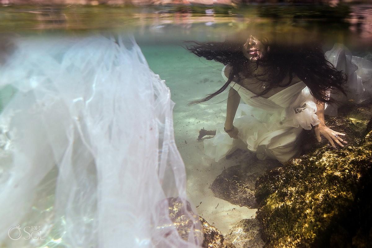 bride lips detail underwater beach photography Playa del Carmen Mexico