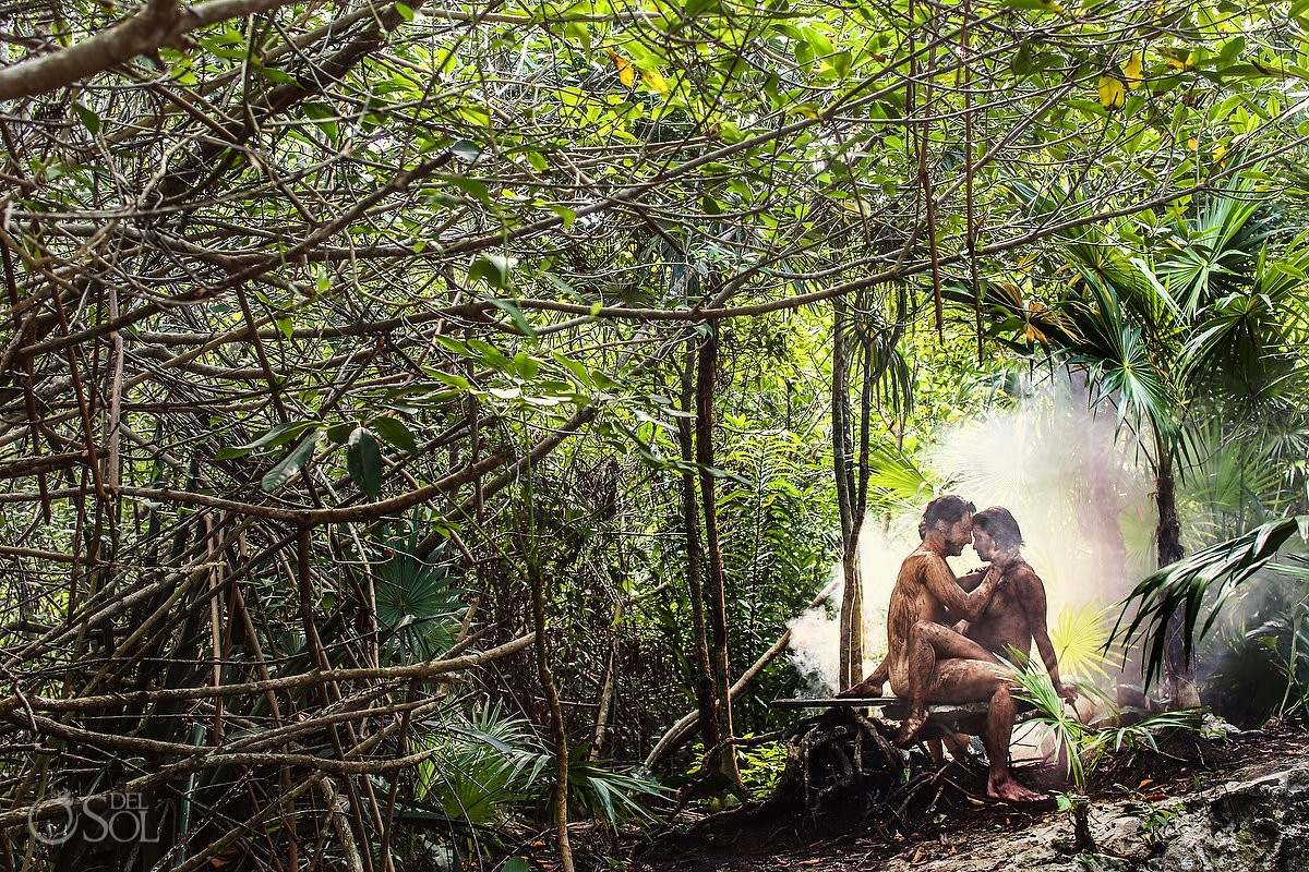 earth element maternity pregnancy photo shoot mother and father in the Mexican cenote jungle