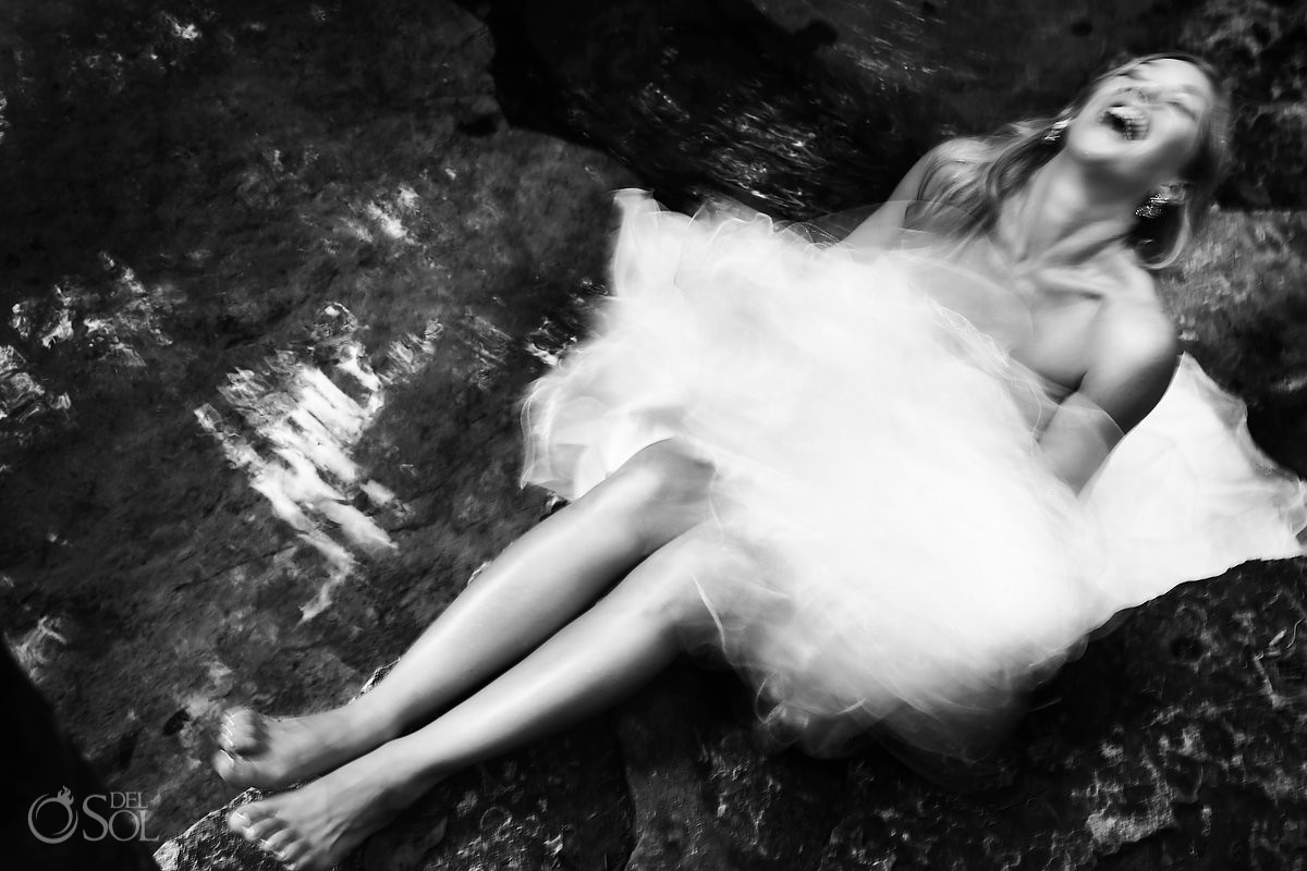 Bride Laughing artistic black and white portrait, Cenote Riviera Maya Mexico
