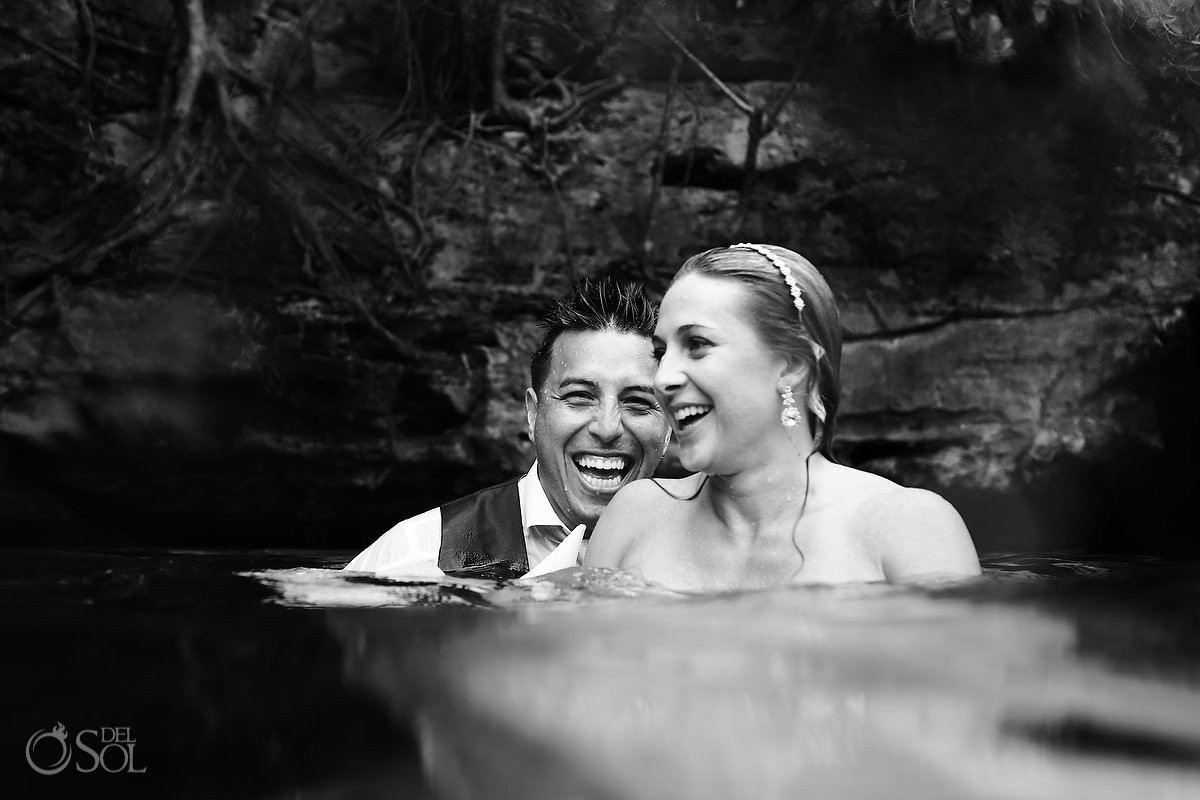 Enjoying moments artistic black and white wedding portrait, Cenote Riviera Maya Mexico