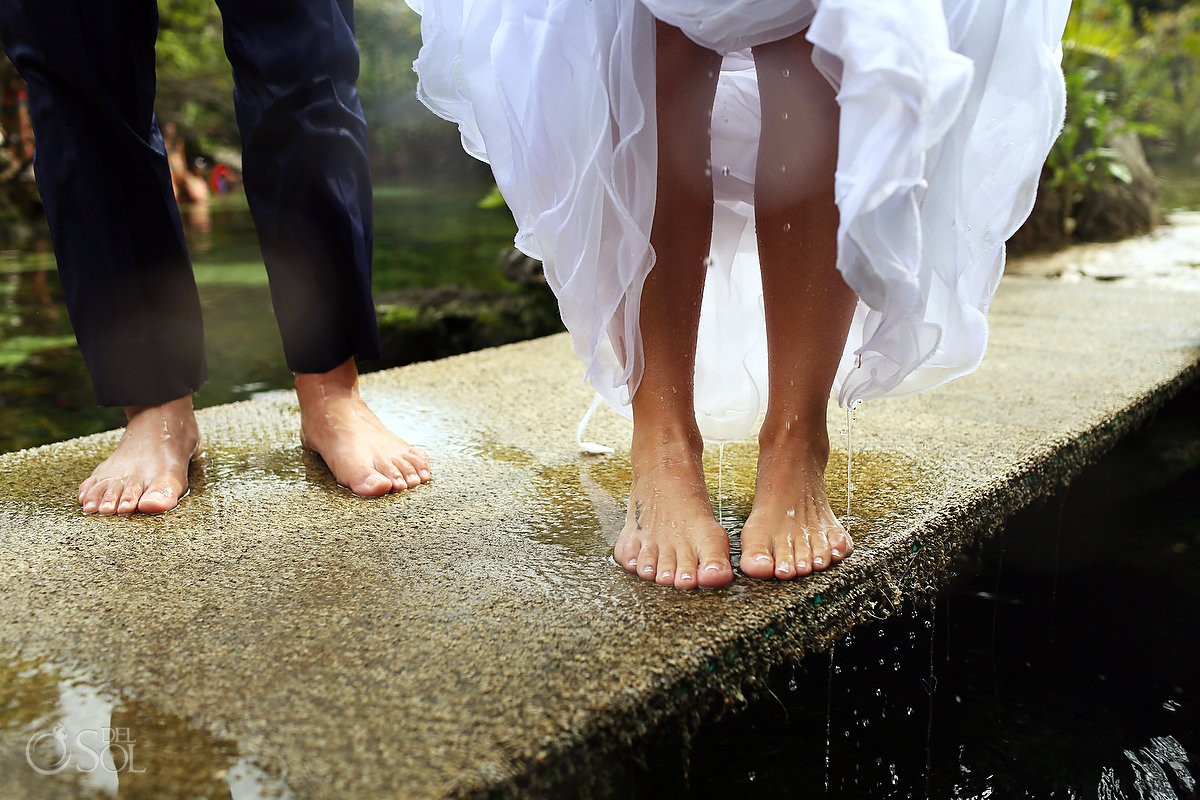 Bride and groom picture ideas cenote trash the dress Riviera Maya Mexico