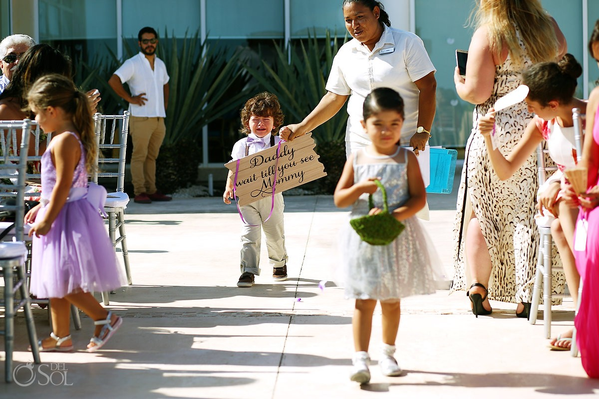 Daddy wait til you see mommy funny wedding picture ring bearer carrying wedding sign destination wedding Now Jade Puerto Morelos Mexico