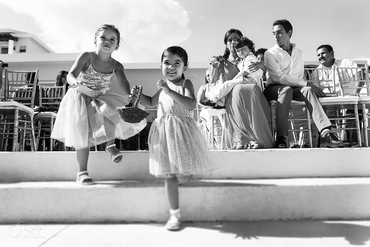 cute flower girls destination wedding Now Jade Puerto Morelos Mexico