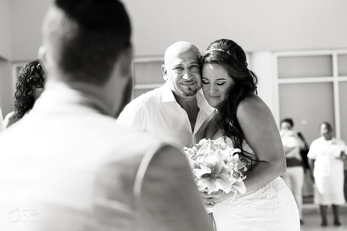 giving the bride away emotionally ceremony moments destination wedding Now Jade Puerto Morelos Mexico