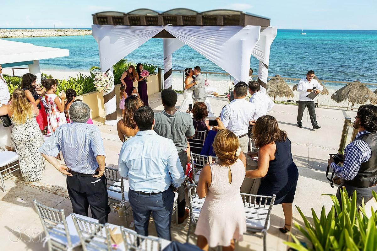 first kiss destination wedding Now Jade Puerto Morelos Mexico
