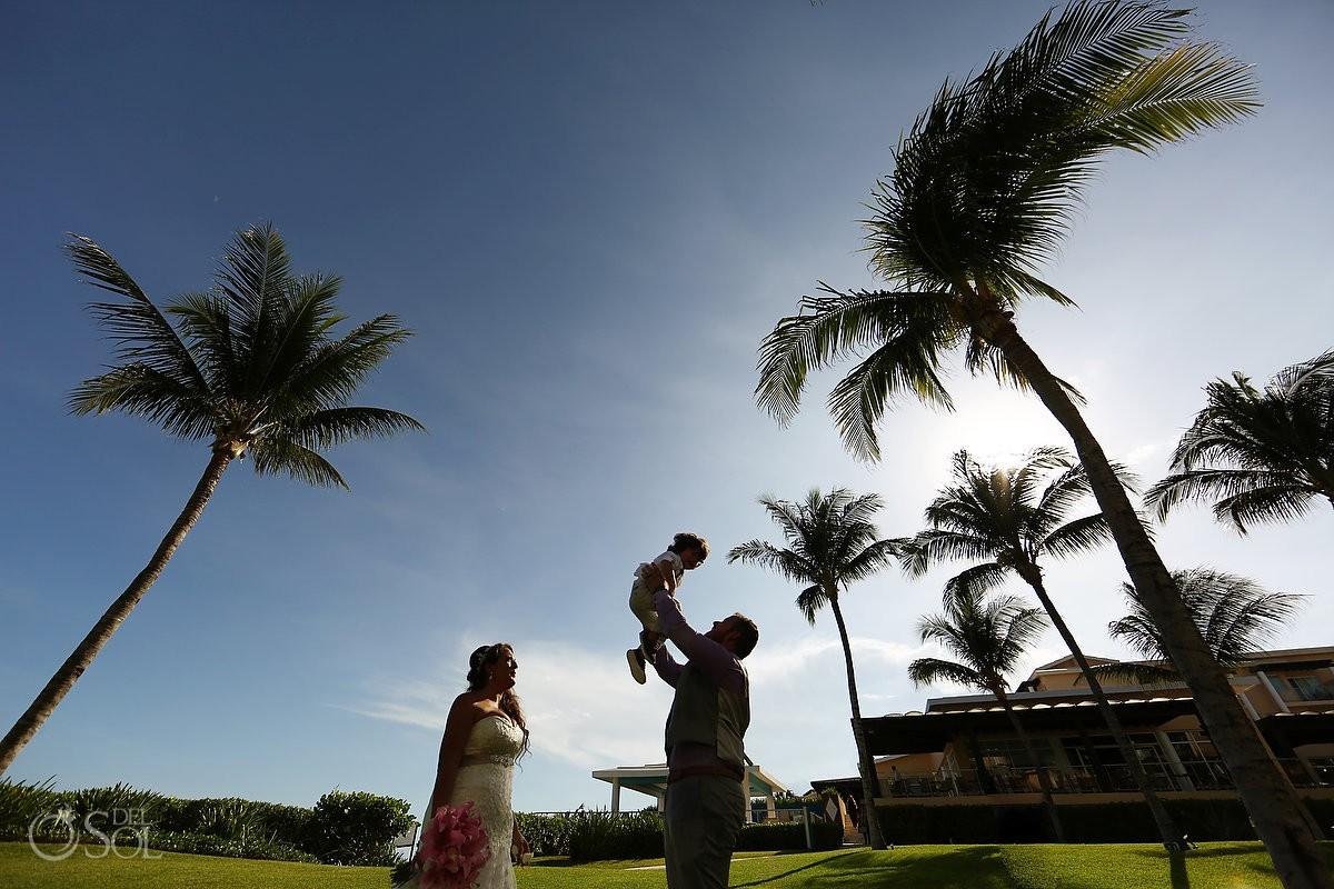 bride groom and son silhouette portrait destination wedding Now Jade Puerto Morelos Mexico