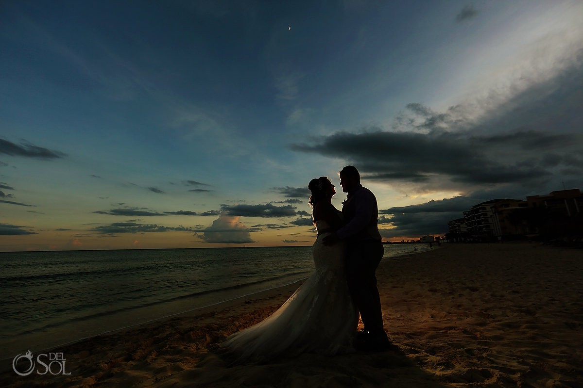 sunset silhouette beach portrait destination wedding Now Jade Puerto Morelos Mexico
