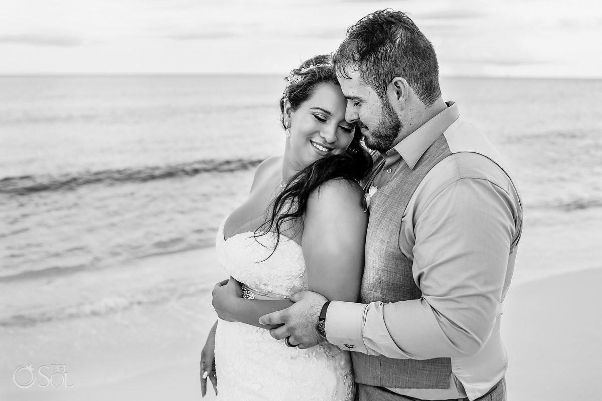 romantic black and white portrait destination wedding Now Jade Puerto Morelos Mexico