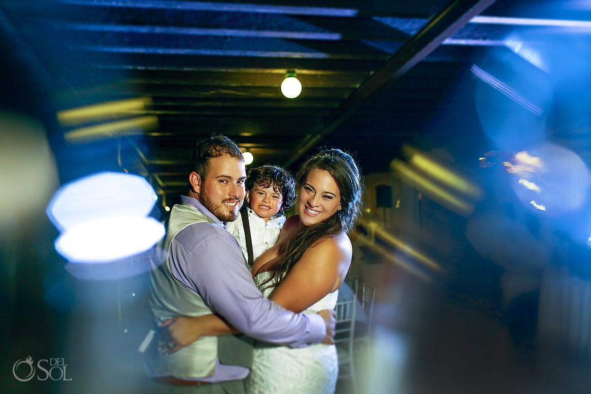 bride groom and son destination wedding reception portrait Now Jade Puerto Morelos Mexico