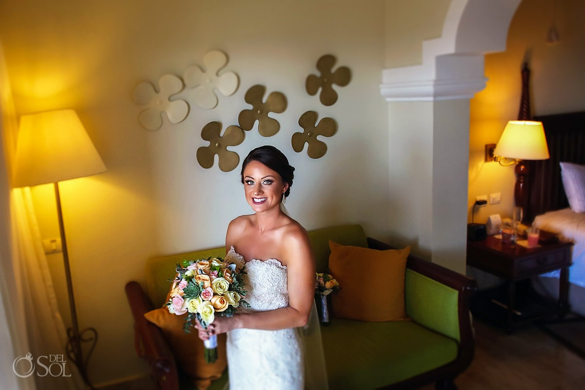 exited bride getting ready bridal portrait Now Sapphire Resort Puerto Morelos Mexico