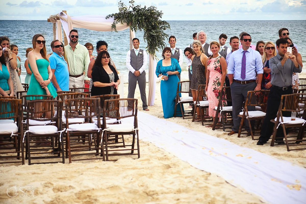 groom waiting for bride destination wedding Now Sapphire beach Puerto Morelos Mexico