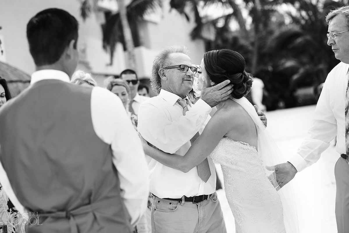 father gives bride away destination wedding Now Sapphire beach, Mexico
