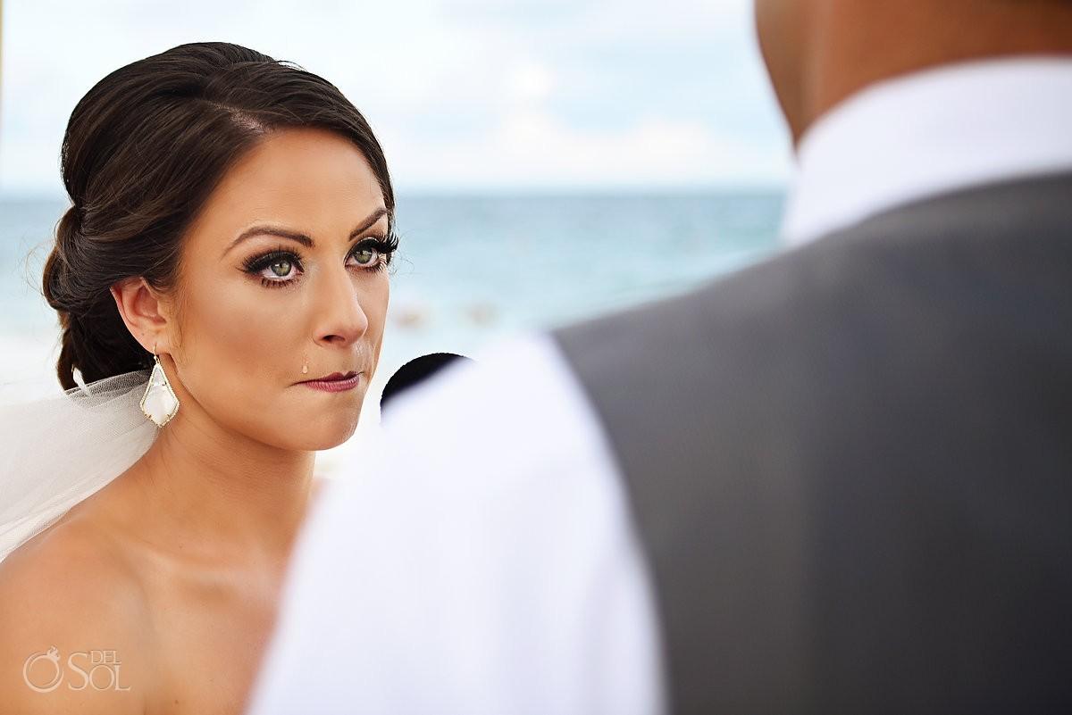 beautiful bride crying emotional ceremony moment destination wedding Now Sapphire beach, Mexico