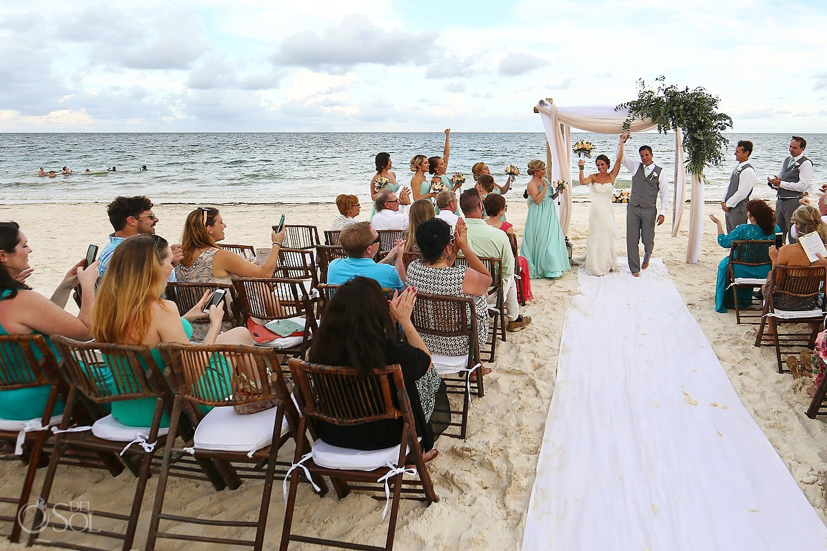 Ceremony exit celebration destination wedding Now Sapphire beach, Mexico
