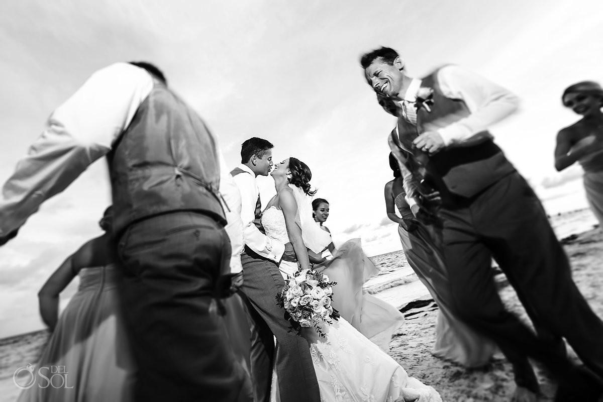 wedding party photo ideas destination wedding Now Sapphire beach, Mexico