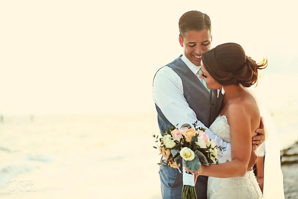 bride and groom wedding portrait destination wedding Now Sapphire beach, Mexico