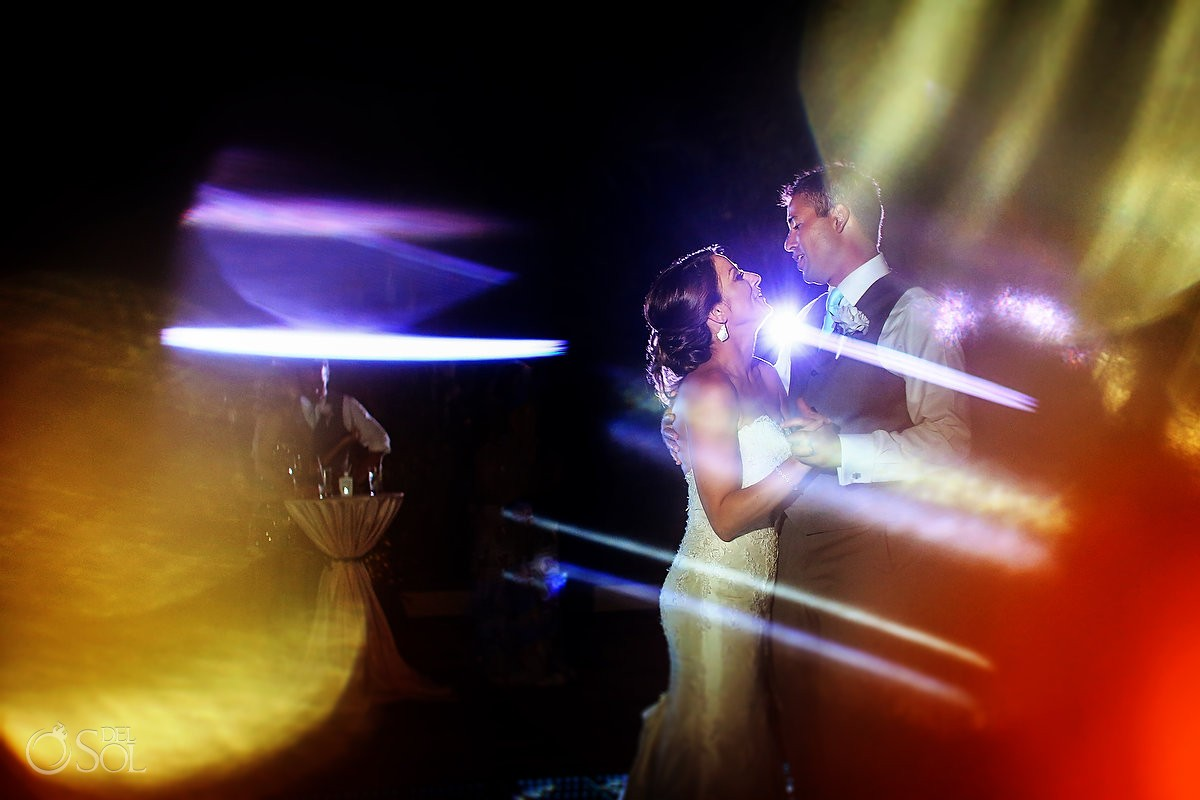 first dance destination wedding reception poolside set up Now Sapphire Mexico