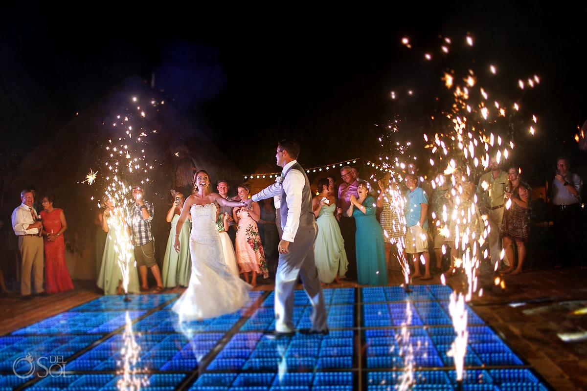 first dance cold fireworks destination wedding reception poolside set up Now Sapphire Mexico