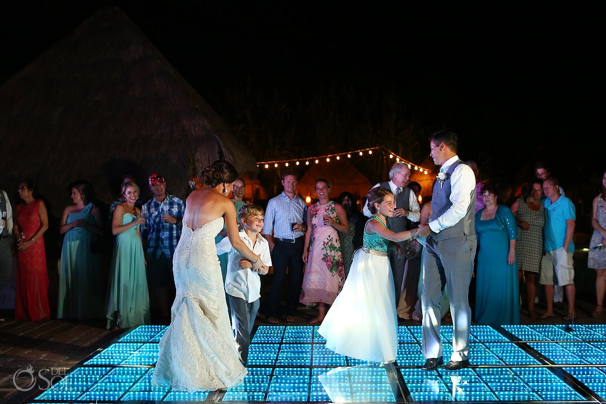 dancefloor fun destination wedding reception poolside set up Now Sapphire Mexico
