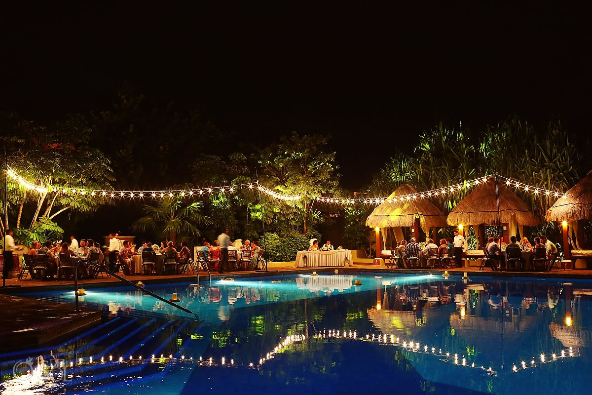 destination wedding reception poolside set up long exposure Now Sapphire Mexico