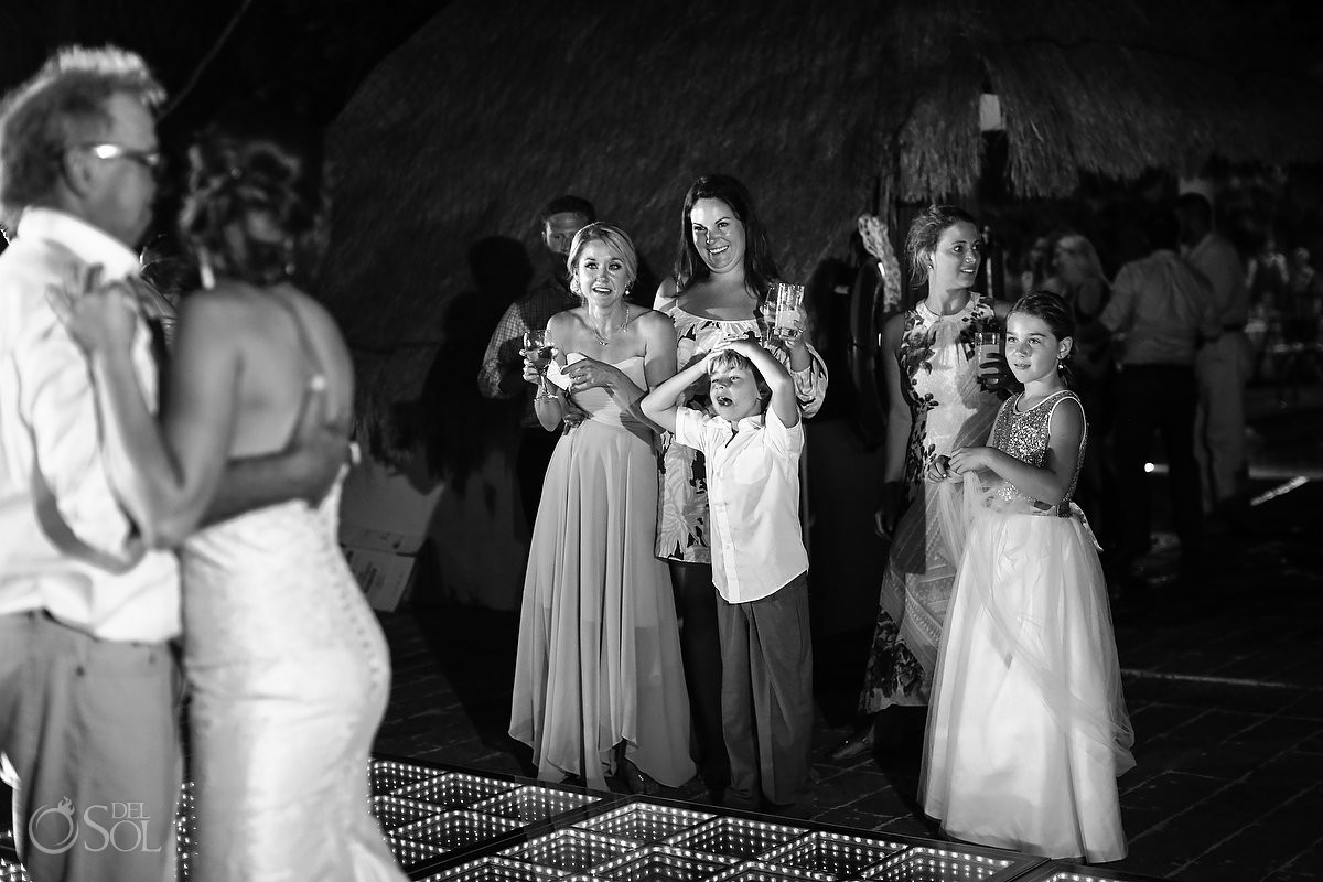 father daughter first dance destination wedding reception poolside Now Sapphire Mexico