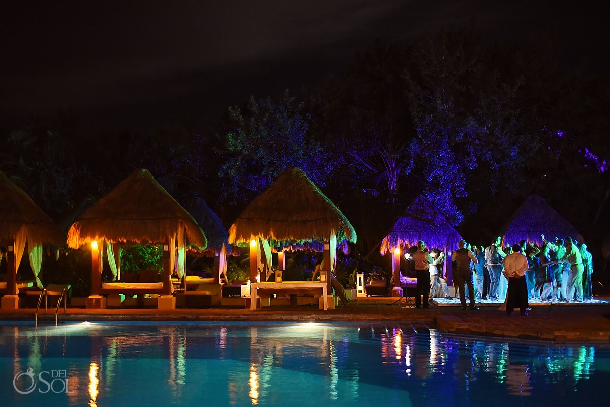 destination wedding reception poolside Now Sapphire Mexico