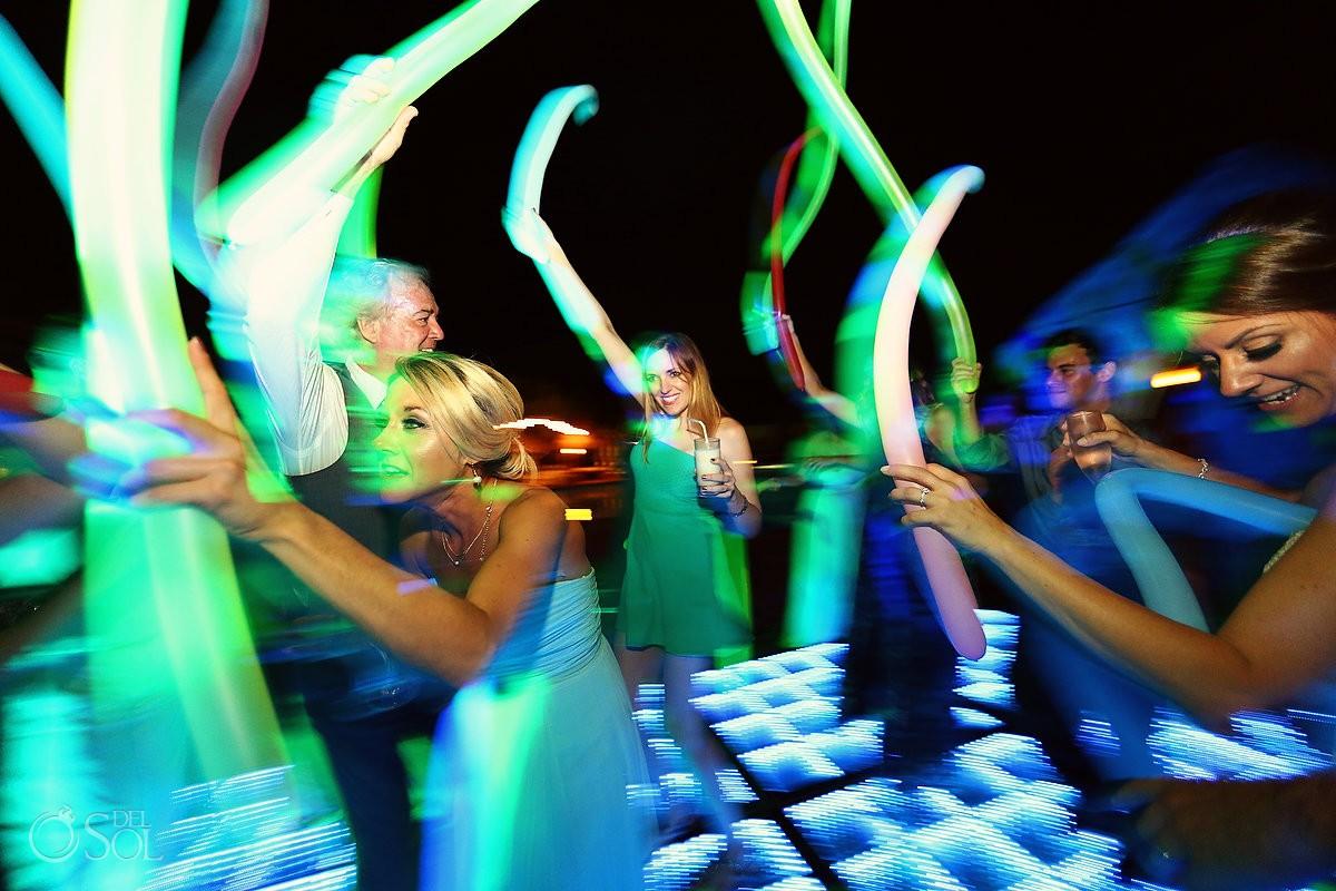 party fun hora loca balloons destination wedding reception poolside Now Sapphire Mexico