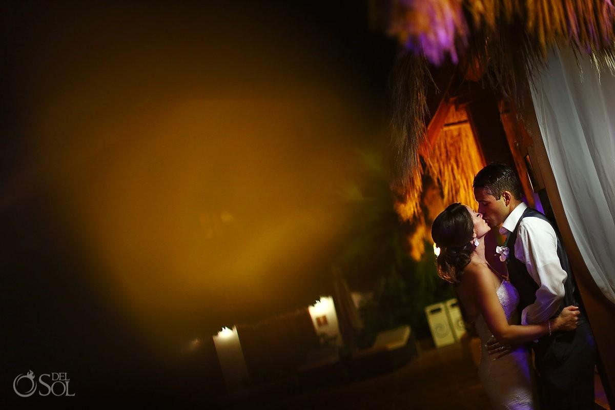 romantic night time wedding portrait Now Sapphire reception Mexico