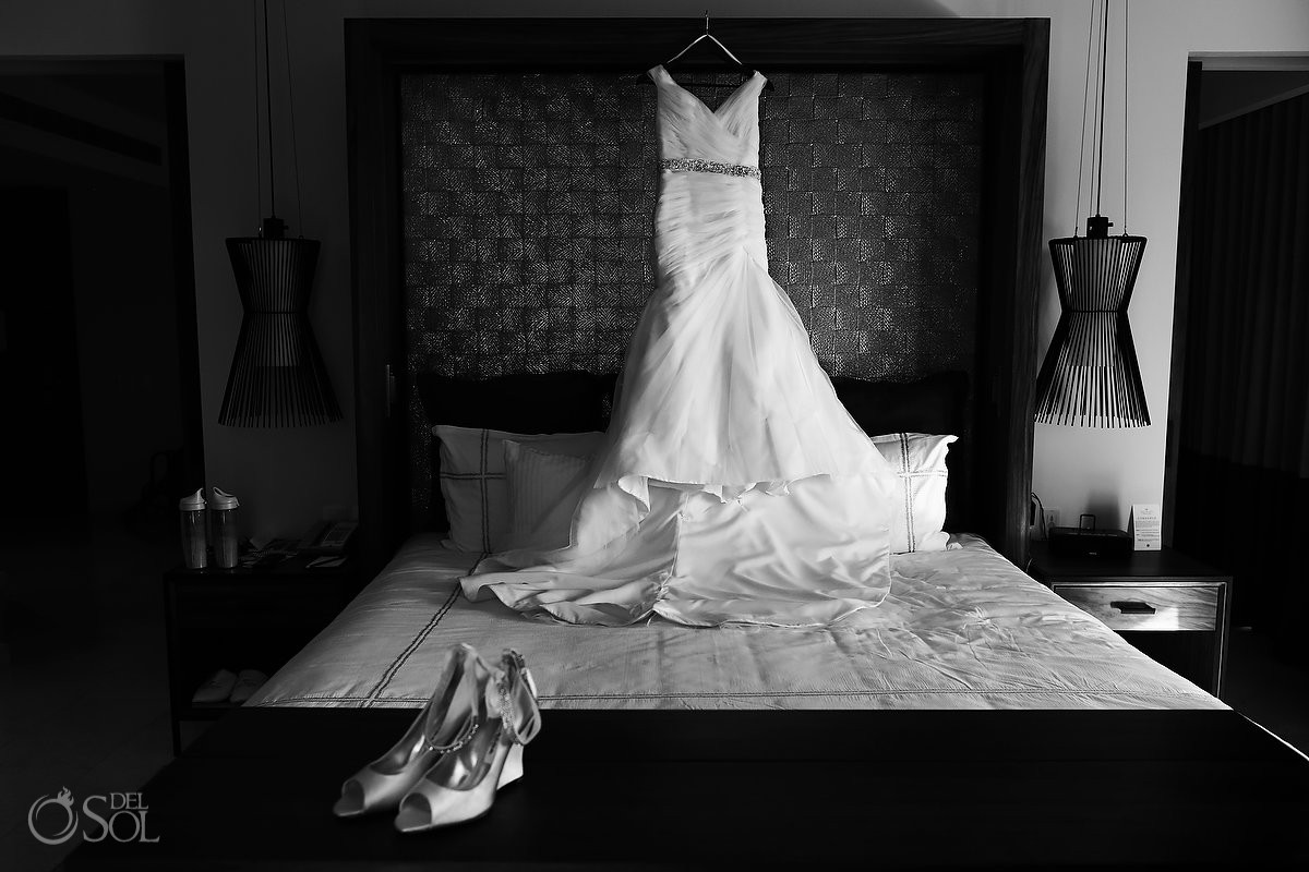 Mori Lee Wedding dress Riviera Maya destination wedding Secrets Akumal Mexico