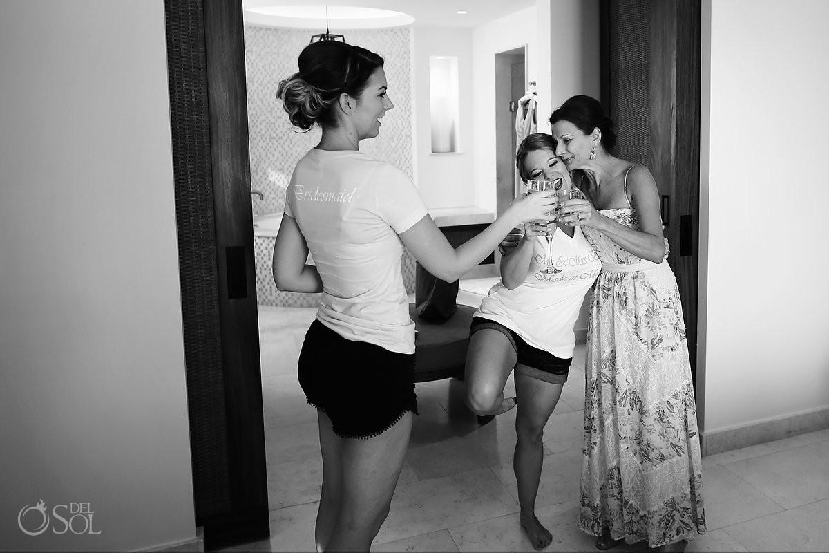 bride and bridesmaids getting ready Riviera Maya destination wedding Secrets Akumal Mexico