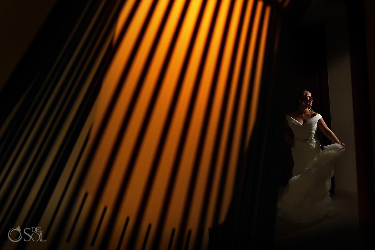 creative bride portrait Riviera Maya destination wedding Secrets Akumal Mexico