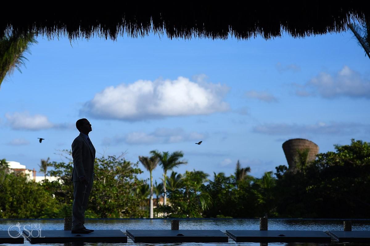 groom silhouette portrait Riviera Maya destination wedding Secrets Akumal Mexico