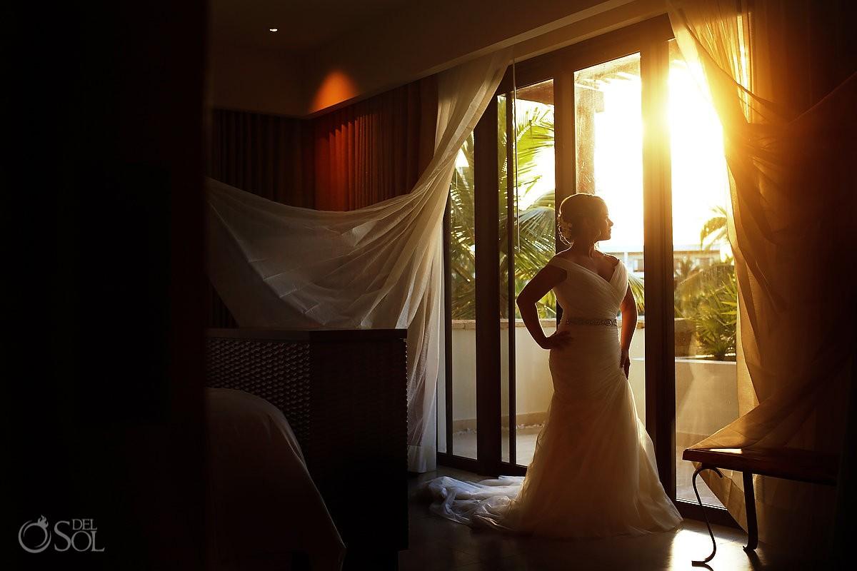 golden light bride portrait Riviera Maya destination wedding Secrets Akumal Mexico