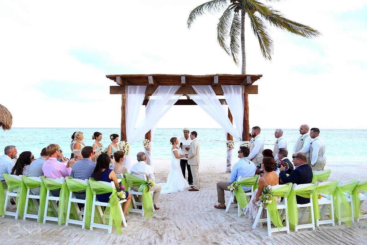 beach ceremony Riviera Maya destination wedding Secrets Akumal Mexico