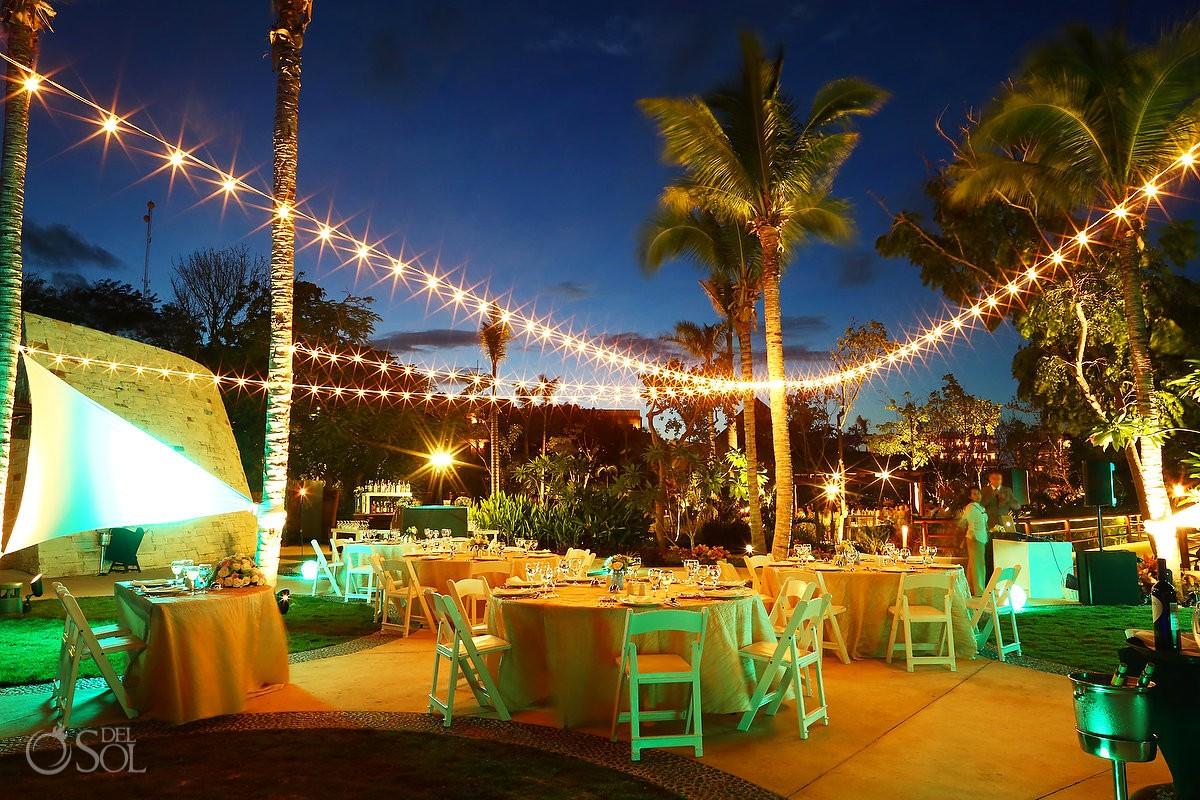 destination wedding reception set up Secrets Akumal Riviera Maya Mexico