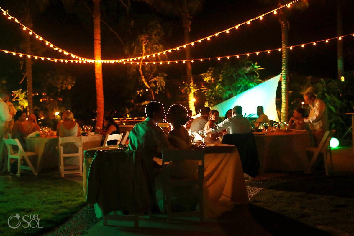 artistic backlit night time portrait Riviera Maya Destination Wedding reception Secrets Akumal
