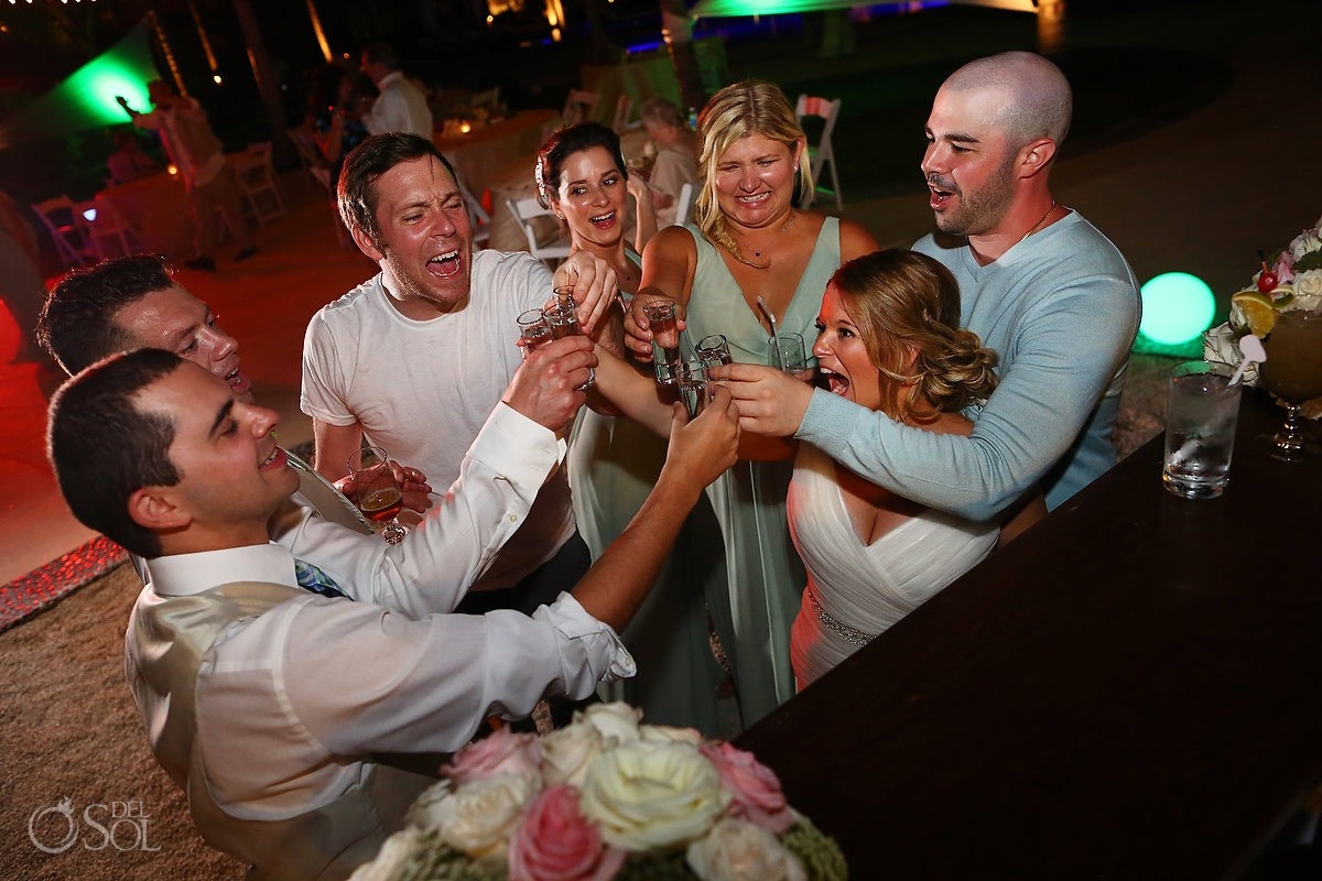 tequila shots Riviera Maya Destination Wedding reception Secrets Akumal