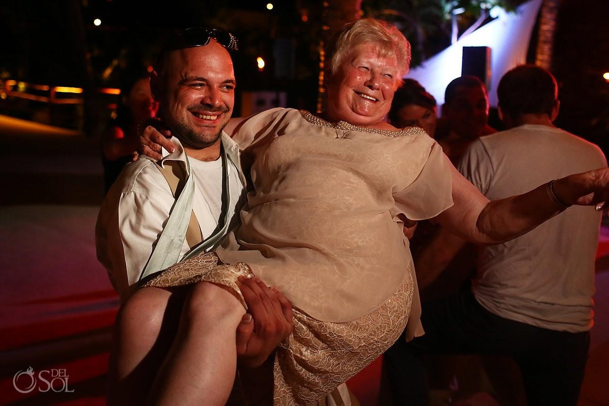 grandma dancing Riviera Maya Destination Wedding reception Secrets Akumal