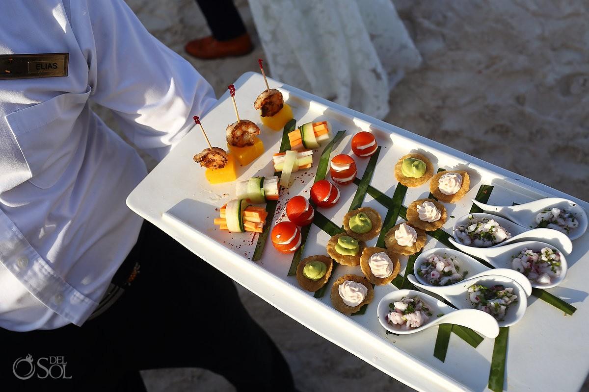 Destination wedding cocktail hour canapes ideas Secrets Akumal Riviera Maya Mexico