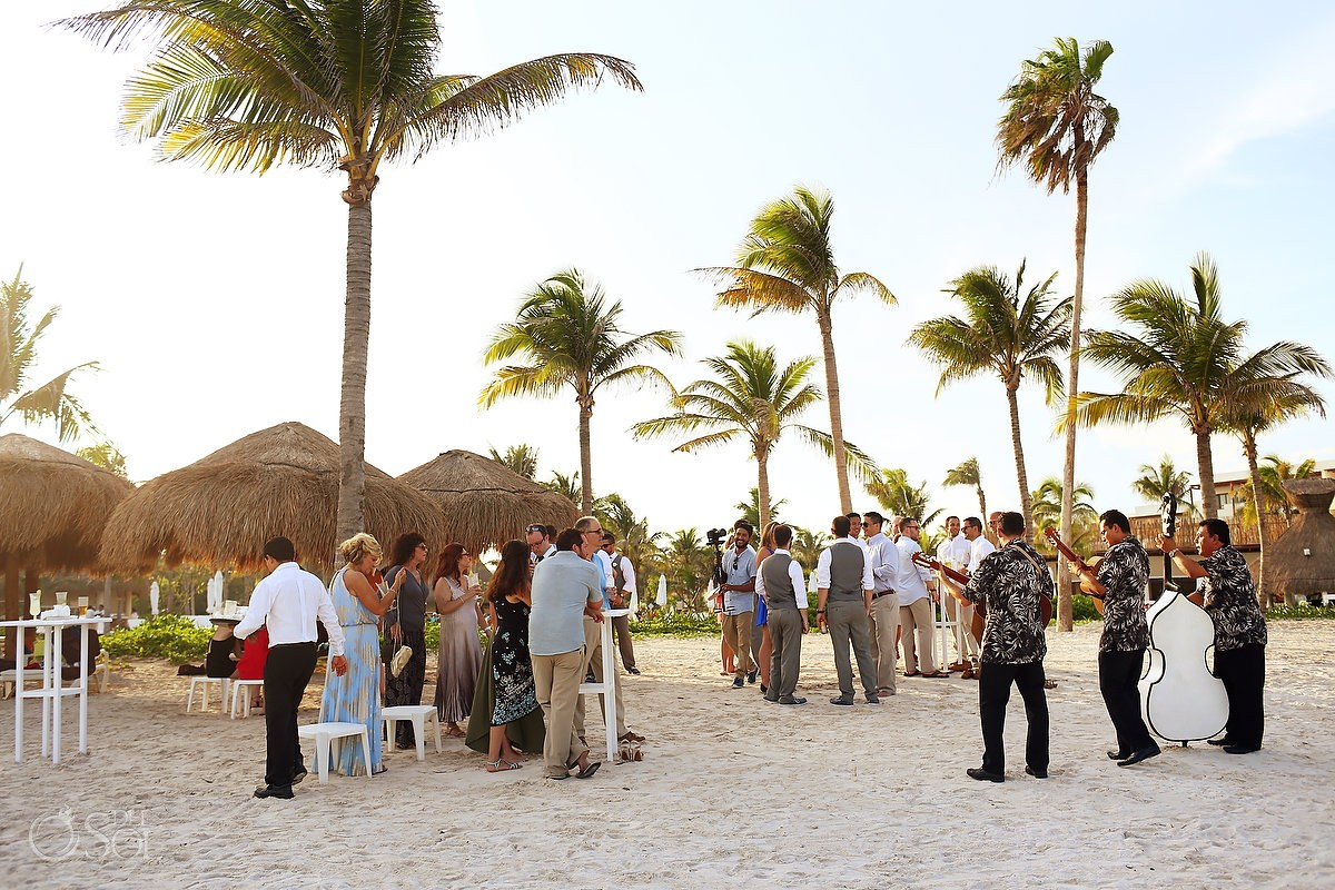 sunset time palm trees beach cocktail hour destination wedding Secrets Akumal Riviera Maya Mexico