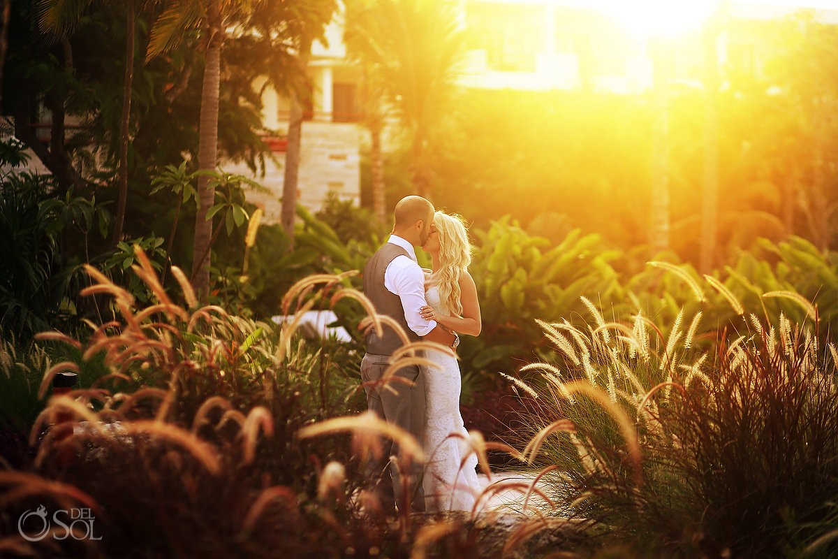 Bride and groom beautiful sunset portrait Secrets Akumal Riviera Maya Mexico