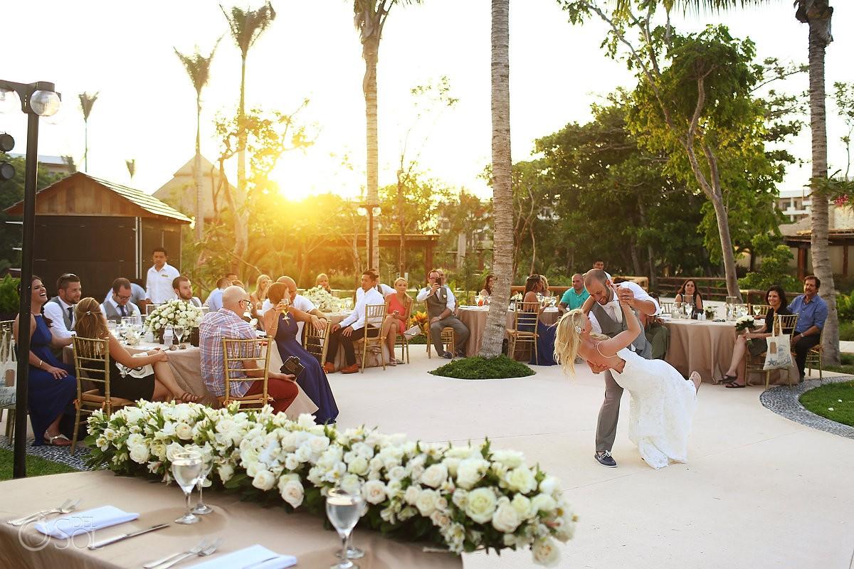Wedding reception first dance sunset time Secrets Akumal Riviera Maya Mexico