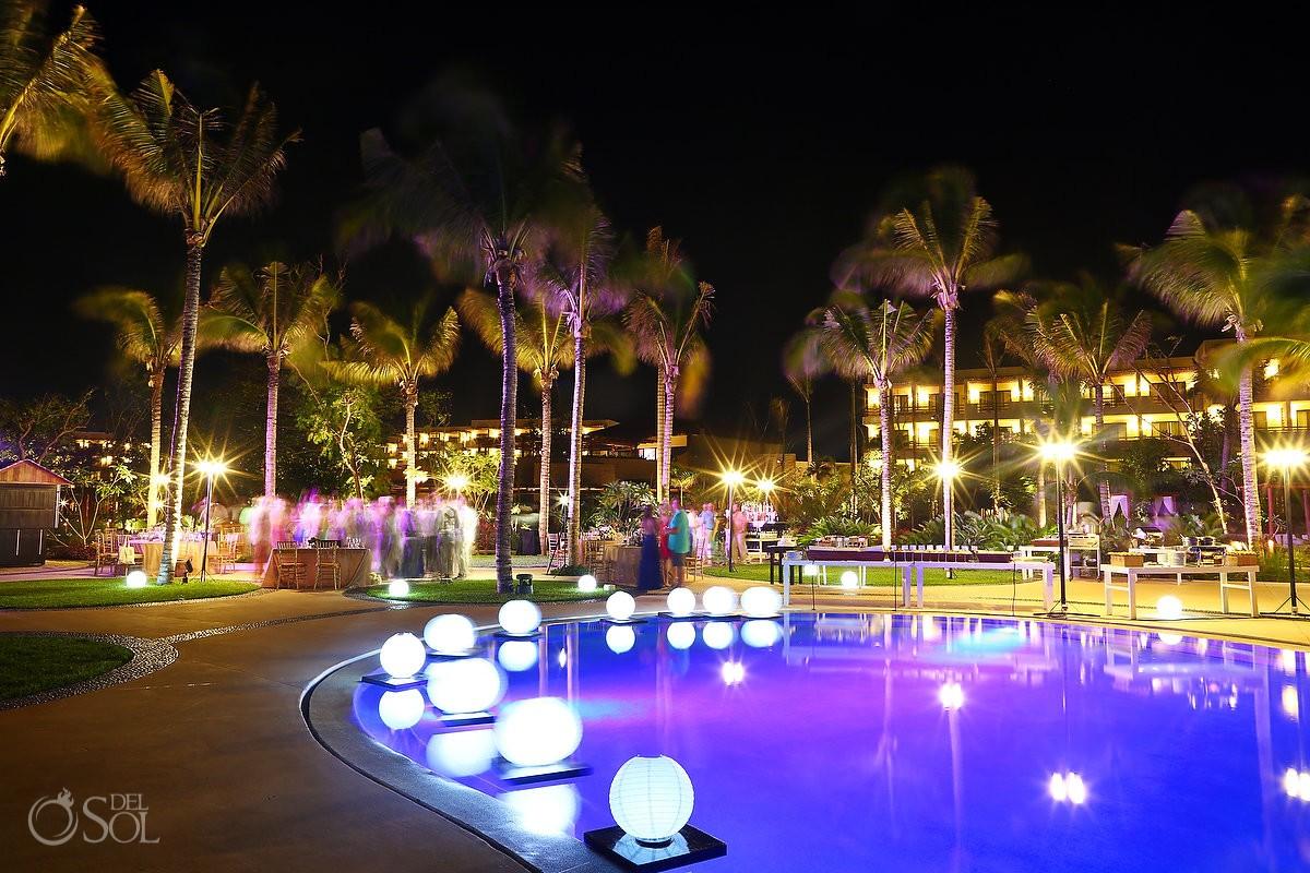 Secrets akumal wedding party night shoot pool area Riviera Maya Mexico