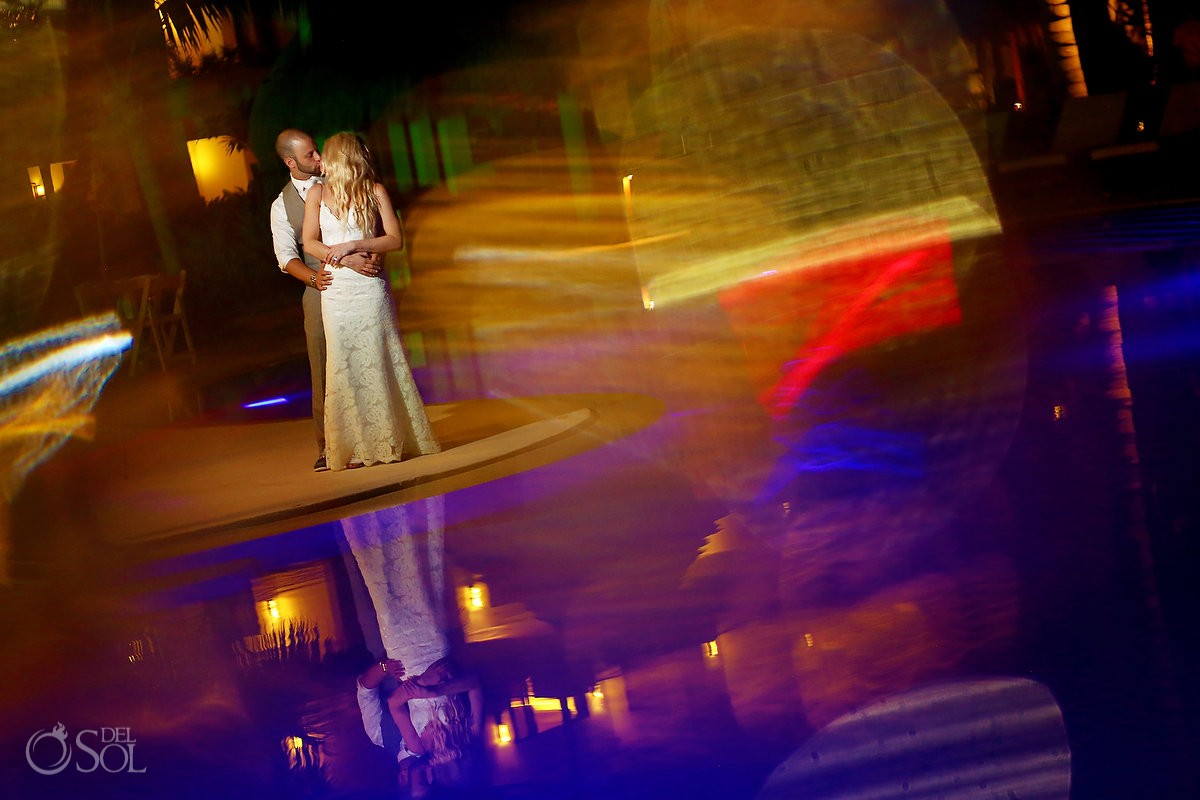 Bride and groom artistic night portrait Secrets Akumal Riviera Maya Mexico