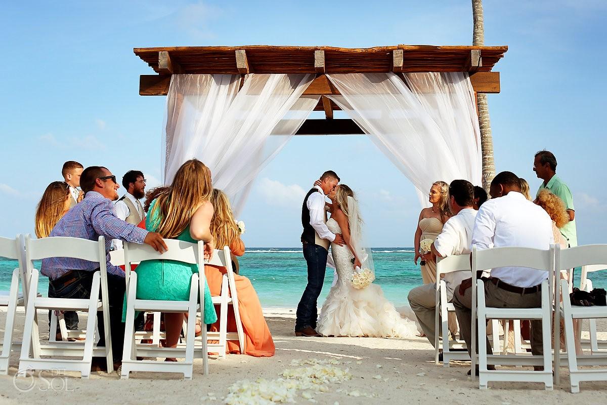 Destination wedding first kiss beach gazebo wedding Secrets Akumal Riviera Maya Mexico