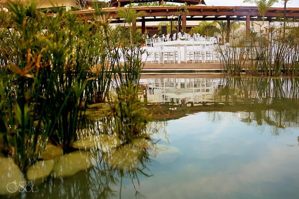 Water reflection wedding reception Secrets Akumal Riviera Maya Mexico