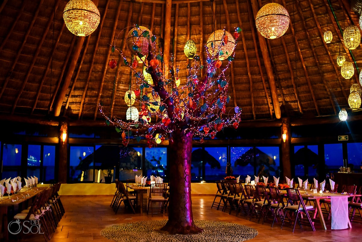 Beautiful reception tree palapa Dreams Puerto Aventuras weddings