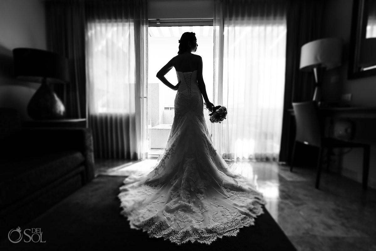 artistic bridal portrait silhouette getting ready Paradisus Playa del Carmen Mexico