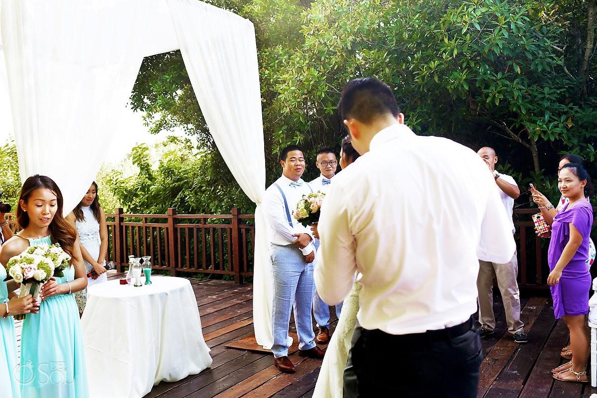 first look destination wedding Gabi bridge Paradisus Playa del Carmen Mexico