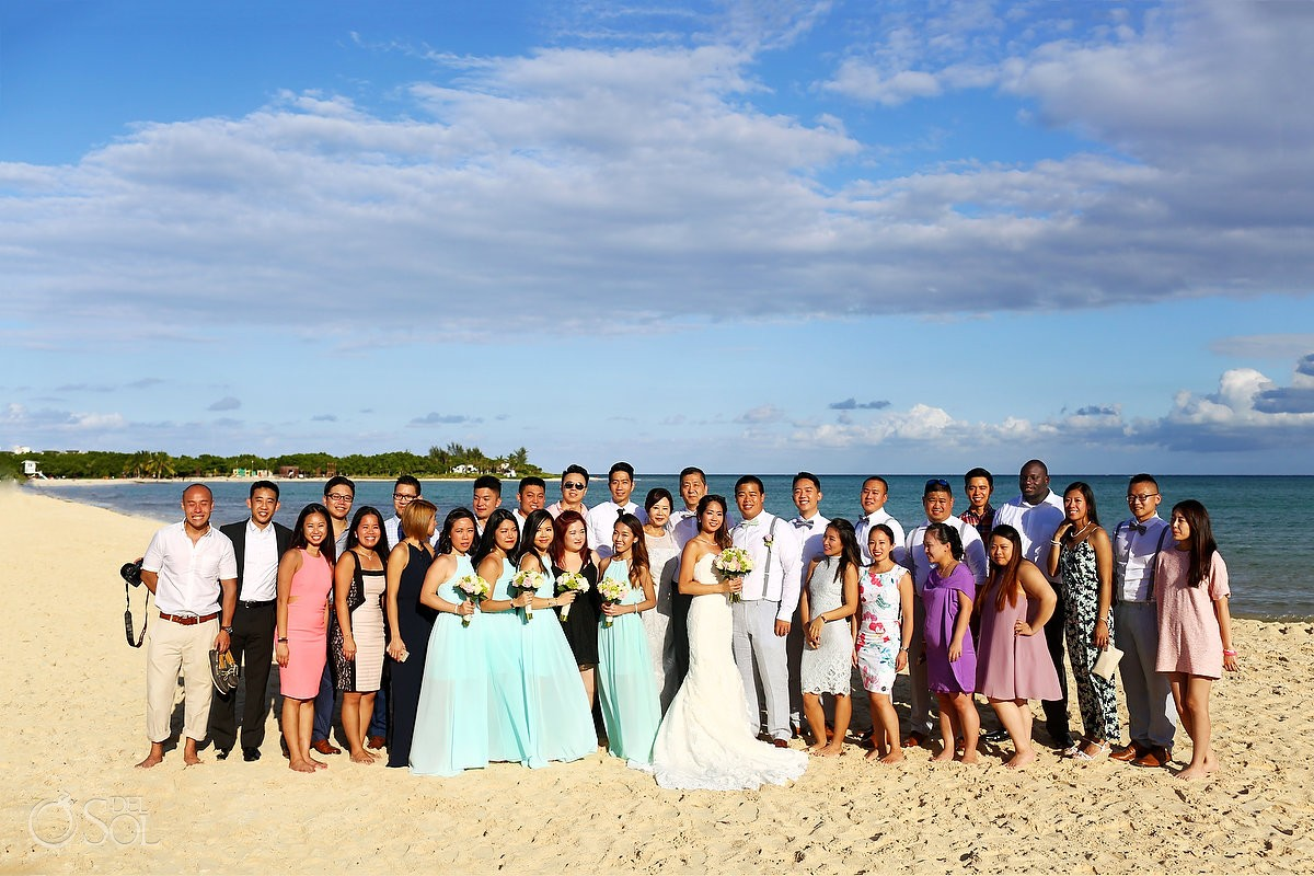 group formal photo destination wedding Gabi bridge Paradisus Playa del Carmen Mexico